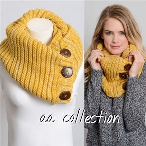 Accessories - Chunky Knit Scarf shoulder neck Wrap button